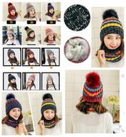 c8fa74c9eff7f Inverno Quente De Malha pom pom chapéu 12 Cores Duplo Espessamento Beanie Chapéus  Cachecol Conjuntos Para