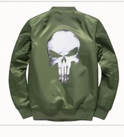 Mens Bomber Jacket MA1 Skull Design Thick Autumn Winter Jack...