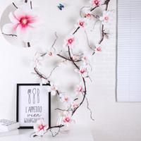 HI-Q 1.8M Foam ramos grinalda aritificial flores de Magnólia Rattan 10pcs flor cabeças de seda videira simulação planta de decoração videira para grinalda