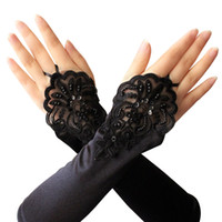 30548891c Women's Elbow Length Gloves Sexy Dance Black Long Satin Fingerless Gloves  for Ladies Hand Club Party Accessories Gift