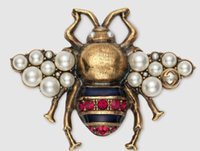 Bee brooch with crystals and pearls 491611 Pearl diamond bro...
