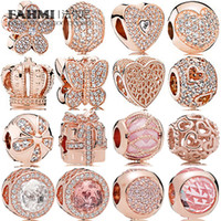 Fahmi 100% 925 Sterling Silver Jewelry Charm Rose Gold Crown regalo tre perle Bow Temperamento Squisito modo delle signore Bead epoca