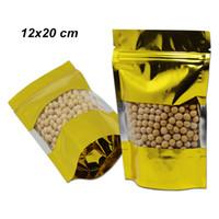 12x20 cm 100 pezzi d'oro Stand Up Aluminium Foil Zipper alimentari Valve riutilizzabile imballaggio Borse mylar trasparente Finestra Packaging Food Storage Pouch