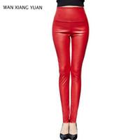 Legginsy Winter Women High Waist PU Skórzane legging Slim Faux Spodnie Kobiet Moda Warm Legginsy Kobiety 0702