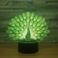 3D Illusion Peacock Night Lamp 3D Optical Lamp AA Battery US...