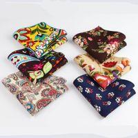 10шт цветок носовой платок шарфы Vintage белье Paisley платочки Мужчины S Платок Платки 22 * 22см