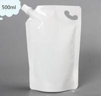 DHL 14 * 22 cm 500 ml 500 Adet / grup Beyaz Boş Doypack Borulu Çanta Jöle Suyu Şarap Içme Bacalı Stand Up PE Poli Parti Paketi Kılıfı