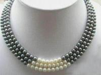 """3 Reihen 7-8 MM Schwarz Weiß Natürliche Perlenkette 17-19 """""""