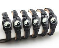 Восточная цивилизация даосский Тай Чи Инь Ян кожаные браслеты Серфер браслет Амулет подарок MB08