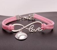 Vintage Silver LOVE Infinity Softball Sports Charms Bracelet Bangle For Men Women Mixed Color Velvet Rope Cuff Bracelets Jewelry 20PCS