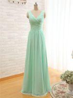 Mint verde longo chiffon vestido de dama de honra 2018 gola v barato uma linha de vestidos de dama de honra plissados sob 100