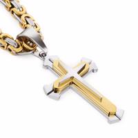Edelstahl Anhänger Halskette 3 Schichten Ritter Kreuz Gold Silber Ton Starke Byzantinische Kette Herren Modeschmuck