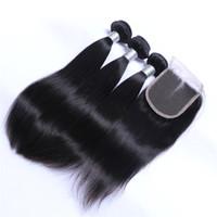 Brezilyalı Düz Saç Örgüleri 3 Paketler Kapatma Ile Ücretsiz Orta 3 Bölüm Çift Atkı İnsan Saç Uzantıları Boyutlandırılabilir 100g / Bundle