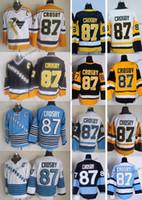 Vintage Pittsburgh Sidney Crosby Hóquei Jerseys Homens Barato 2009 Inverno Clássico 87 Sidney Crosby Costurado Hockey Camisas C Remendo