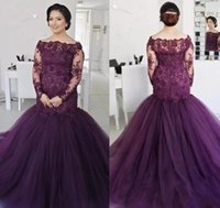 Tulle Beaded Lace Appliqued Grape Mermaid Evening Dress Off ...