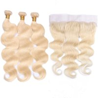 # 613 Blonde Virgin Brasileño Tramas de cabello humano con frontales completos Onda del cuerpo Bleach Blonde 13x4 Encaje Frontal Cierre con paquetes de tejido