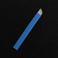 100 Pcs 9Pin Agulhas para Sobrancelha Manual Microblading Chanfro Lâminas Esterilizadas para Maquiagem Permanente Tatuagem Sobrancelha Caneta Azul