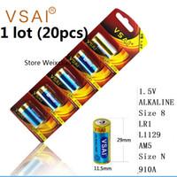 20pcs 1 lotes Tamaño 8 LR1 L1129 AM5 Tamaño N 910A 1.5V Paquete de la tarjeta de la batería alcalina VSAI Envío gratis