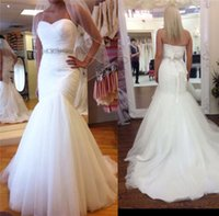Sexy Crystal Mermaid Wedding Dress Sweetheart waist beading sash lace up back Corset Vestidos de novia por encargo