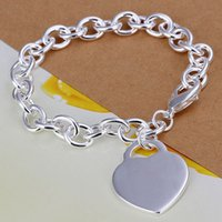 Fine 925 Sterling Silver Heart Chain Bracelet for Women Men,...