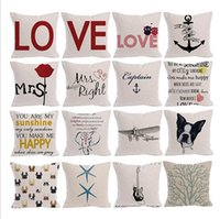 Letter Pillow Cases Linen Square Cushion Cover Love Printing...