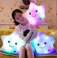 Colorful LED Flash Light Hold pillow five star Doll Plush An...