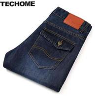 TECHOME New 2016 Jean Mens Calças dos homens Calças de Brim Dos Homens calças Mid Cintura Reta Estilo de Negócios Casuais Tamanho jeans homme Plus Size 22