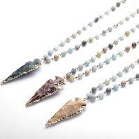 Мода Амазонит Камни Четки Цепи Наконечник Стрелы Ожерелье Ручной Работы Женщин Натуральный Камень Бисера Шеи