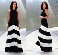 2018 Summer Fashion Women Maxi Dress Halter atractivo sin respaldo del hombro Vestidos de fiesta de noche Vestido largo de rayas negro blanco