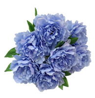 blauer künstlicher Pfingstrosenkopf für Dekorationgroßhandelsseidenblume Pfingstrose wed Dekoration im weißen purpurroten Erröten für Gangbogenblumenstrauß