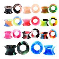 Färgglada silikonmätare pluggar för kroppskonst Dubbelfjädrade flexibla tunnlar Öron Skin Stretcher Kit Unisex Piercing Smycken