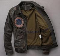 Vestes de moto d'hommes noirs vintage AVIREXFLY avec sauvetage de secours de feu de broderie 100% veste en cuir véritable à vendre