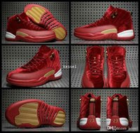 2017 Hot 12 XII Red Gold Velvet Heiress Mens Scarpe da basket High Cut Sneakers in lana 12s Scarpe da ginnastica Athletics Uomo Scarpe sportive Taglia 8-13