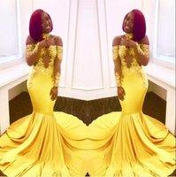 African Black Girl Yellow Prom Dresse 2019 à l'épaule Sheer Manches longue Manches Vintage dentelle élégante sirène célébrité robes de soirée BA7903