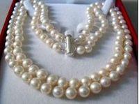 Бесплатно SHIPPING2OYA соленой воды жемчужное ожерелье 17-18 строк 8-9 мм АК