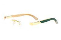 Mode Markenname Büffelhorn Sonnenbrille randlose Holz und Metall klar Gläser Rahmen optische Brillen Rahmen Männer Frauen grün orange blau
