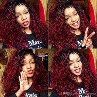 Black 1B Roots Ombre Burgundy 99J Synthetic Lace Front Wig T...
