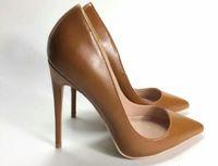 Alors kate Femmes café en peau de mouton nue en cuir verni Poined Toe femmes Pompes, 120mm Red Fashion Bas de talons hauts pour femmes Chaussures de mariage