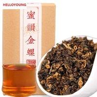 200g Çin Organik Siyah çay Yunnan erken bahar balı altın vida kırmızı çay Sağlık yeni Pişmiş çay Sağlıklı Yeşil Gıda Tatlı kokulu