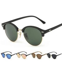 Round Frame Retro Sunglasses Polarized Sun Glasses Half Fram...