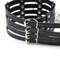 Collier en cuir d'unité centrale + chaîne en métal laisse esclave cou contraintes de harnais jouets # R56