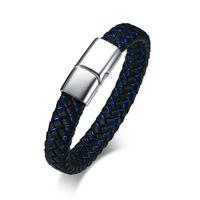 Commercio all'ingrosso nero e blu mens in vera pelle bracciali braccialetto Euro-US stile acciaio inossidabile gioielli maschili 8.26 ''