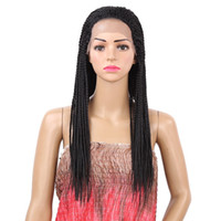 18-22 zoll Schwarz Perücken Box Braid Perücke Hitzebeständige Synthetische Geflochtene Lace Front Perücke für Frauen