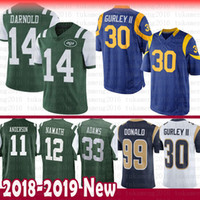 14 Sam Darnold 30 Todd Gurley St.louis Ram Jersey de los New York Jets 99 Aaron Donald 12 Joe Namath 33 Jamal Adams 11 Robby Anderson 16 Jared Goff