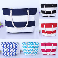 Canvas stripe Tote Beach Bags Large Capacity Foldable Wave p...
