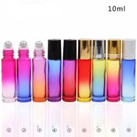Rotolo di vetro spesso 9 colori su bottiglia Bottiglie colorate da 10 ml di olio essenziale con bottiglia di profumo vuota con sfera in acciaio inossidabile