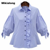 Mikialong Vintage Side Ruffle Camicetta Femme Blue Lantern Sleeve Plaid Shirt Donna Moda Top 2017 Estate Camisas Mujer XL-5XL