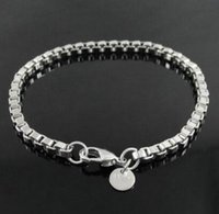 DHL 3mm Square Rolo Silver Link Chain Bracelet Round Vintage Bangle for Men Women Jewellery Charms Bracelets Fit Murano Glasses Beads