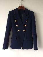 Personalità calda Nuovo Design originale di alta qualità Donne Donne Blue-Blued Blue Slim Giacca in metallo Blazer Blazer Navy Blazing Outwear