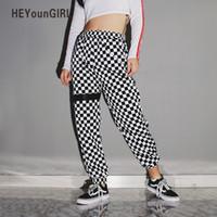Heyoungirl Karierte karierte Haremhose Frauen-Checkerboard-Hose Hohe Taille elastische Kunststoff-Sweatpants Streetwear-Pantalonen